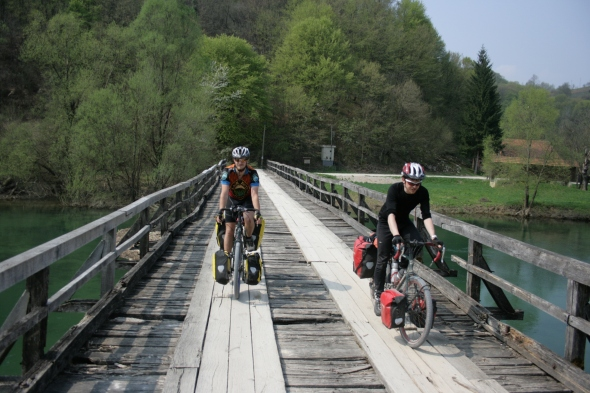 Us riding across the sturdiest bridge in Croatia.