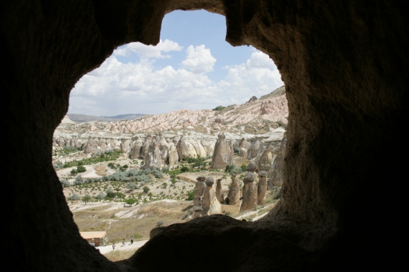 Looking out at the rock chimneys from inside a cave room in Cappadocia.