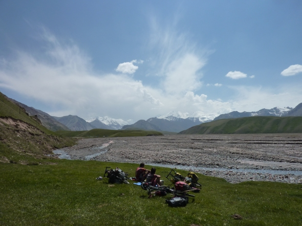 Looking back at the Pamirs from Kyrgyzstan