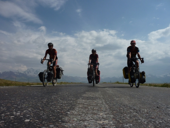 Three riders were approaching.