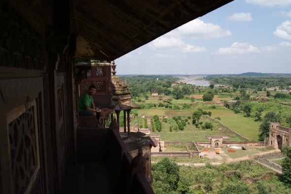 Surveying the Orchha ruins