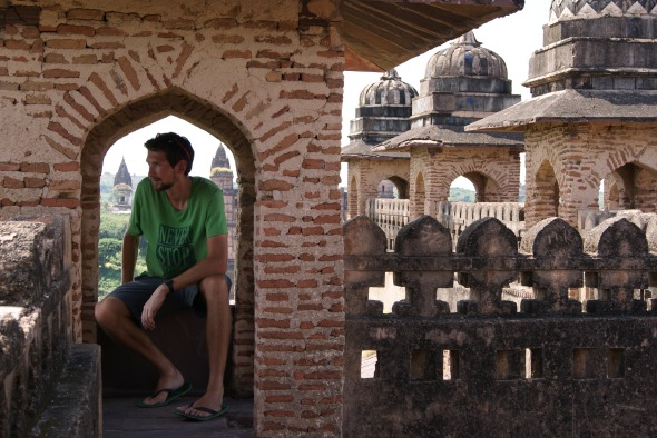 Relaxing in one of the towers atop Orchha's 16th  century palace. (Finally, some peace and quiet!)