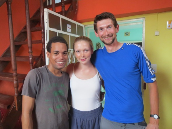 Aino, Sergio (her salsa teacher) and me
